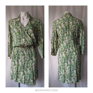 CAbi ▪ Faux-Wrap Leaf Print Blouse Dress